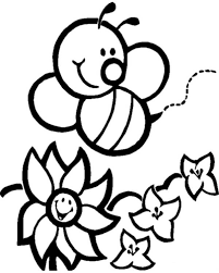 Small Picture Happy Bumblebee and Flowers Coloring Page Download Print