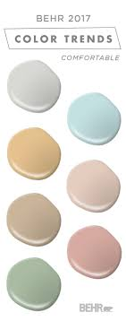 This comfortable color palette from BEHR's collection of 2017 Color  Currents is full of soft neutrals and subtle pastel colors.