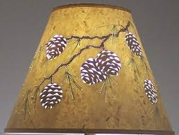 reverse painted cut pierced pine cone design lampshade