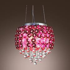 strands of shimmering drops and red flowers shade composed elegant crystal chandelier