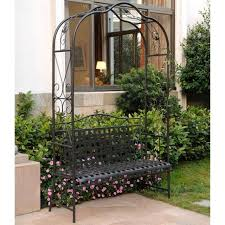 outdoor garden bench gardening seat arbor trellis metal wrought iron country