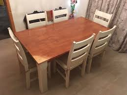 6ft dining table 6 chairs solid wood