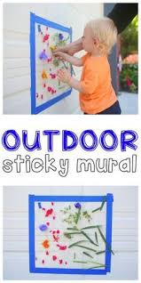 outdoor sticky mural such a fun outdoor activity for toddlers and preschoolers that uses natural materials to create beautiful masterpiece activities o60 for