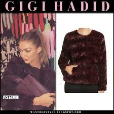 gigi hadid in burdy faux fur jacket sanctuary and purple max mara bag what she wore