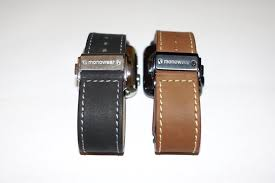 left monowear s black leather deployant in 42mm stainless steel right brown leather deployant in 42mm space gray