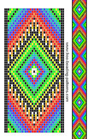 Free Beading Patterns Extraordinary Freebeadingpatternguitarstraprainbowdiamonds