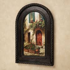 best and newest tuscan wall art inside red door italian scene arched framed wall art