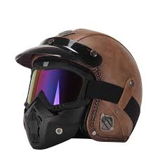 retro vintage leather 3 4 open face visor helmet motorcycle scooter with goggles mask
