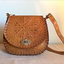 vintage hand tooled leather bag women s fashion bags wallets on carou