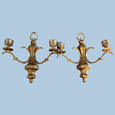 pair 2 double arm bronze wall sconces