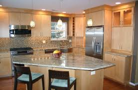 beech wood kitchen cabinets: countertops appealing tile backsplash ideas for innovative narrow kitchen decoration and natural beech maple all wood kitchen cabinet plus angled shaped granite countertop breakfast kitchen island by two dining a x