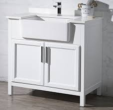 farmhouse sink in the bathroom. stufurhome ty-3005pw-36 tyron farmhouse apron single sink bathroom vanity, 36\u2033, white \u2013 touches in the