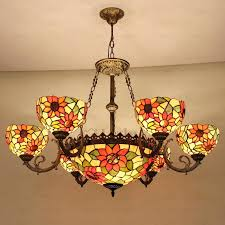 chandeliers 9 light chandelier beautiful stained glass shade style portfolio colton lakes bronze