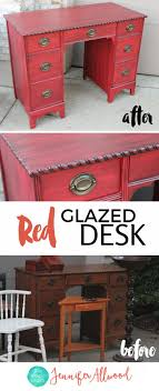 red furniture ideas. Red Glazed Desk Makeover By Jennifer Allwood | How To Paint Furniture Painted Ideas .
