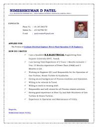 Resume Sample For Electrical Engineer Fresher And Experience