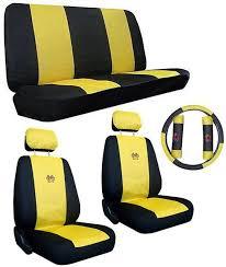 yellow black sport jersey racing car truck suv seat covers w racing logo pkg