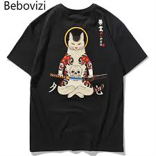<b>Bebovizi</b> Brand Streetwear <b>Japan Style</b> Ukiyo E Funny Samurai <b>Cat</b> ...
