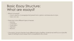 basic essay structure enl spring basic essay structure  basic essay structure what are essays ◦ what is an essay
