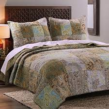 King Size Yellow/green Cotton Quilts Clearance: Amazon.com & Vintage Retro Paisley Bedding Patchwork Print Pattern Brown Blue Green  Luxury 100 Cotton Reversible 3 Piece Quilt Set with Shams King Size -  Includes Bed ... Adamdwight.com