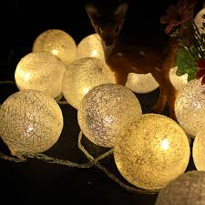 Us 12 61 33 Off 6cm Fabric Cotton Ball Lamp 5m 20 Fairy Led String Light Garland Warm White 220v Wedding Decoration Led Christmas Lights Party In