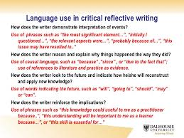 critical reflective writing  16 language use in critical reflective writing