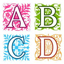 Letters In Design Decorative A B C D Alphabet Letters With Vintage Floral Elements
