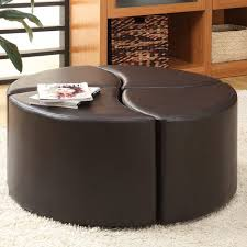 elegant round ottoman table gallery end leather intended for coffee decor 5