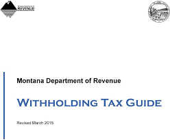 Montana Department Of Revenue Withholding Tax Guide Pdf