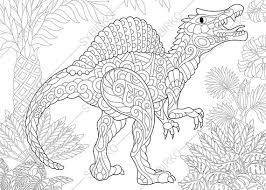 Small Picture Adult Coloring Pages Dinosaur Spinosaurus Zentangle Doodle