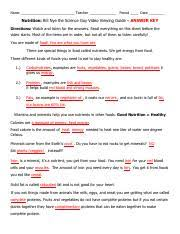 bill nye nutrition video study guide sue s version answer key 3 2 pdf name teacher period date nutrition bill nye the science guy video viewing