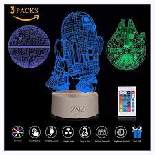 <b>3D LED Star Wars</b> Night Light, ZNZ Illusion Lamp Death Star + R2 ...