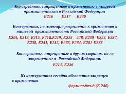 Реферат на тему Консерванты в пищевой промышленности  Консерванты запрещенные к применению в пищевой промышленности в Российской