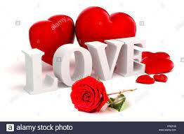 3d Love text, red hearts and rose on ...