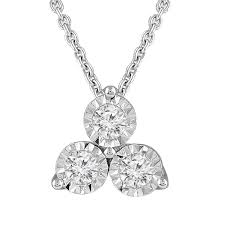 large view 3 stone diamond necklace