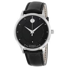 movado 1881 automatic black dial black leather men s watch 0606873