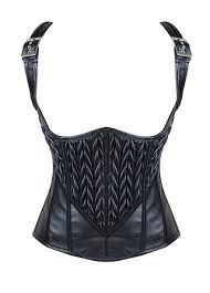 black leather vest steampunk underbust corset