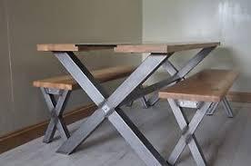 Steel table legs Dining Table Image Is Loading Xcrossshapedindustrialdiningtablesteeltable Ebay Cross Shaped Industrial Dining Table Steel Table Legs Oak Top
