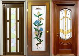 wood and frosted glass interior doors