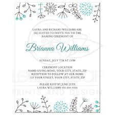 Cute Naming Name Giving Ceremony Invitation With Flower And Leaf Borders