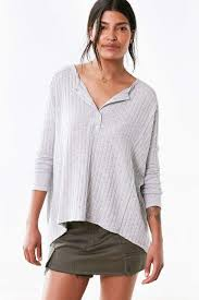 BDG Avery Henley Sweater | Henley sweater, Sweater design, Ribbed sweater