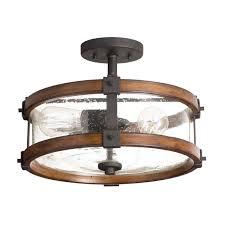 Kichler 38171 Distressed Wood Semi Flush Mount Light Barrington 3 Light Semi Flush Distressed Black Metal Wood