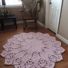 pale pastel pink doily lace rug crochet nursery area rug shabb