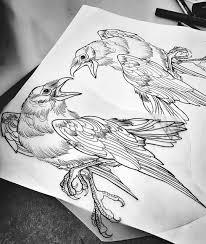 Line Work Raven Tattoo птицы идеи для татуировок ворон тату и