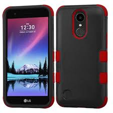 Black Red LG K20 PLUS Tuff Duo Layer Cover Case Phone Cases - Cell USA