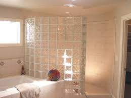 walk in door less glass block shower wall constructed with 8 x8