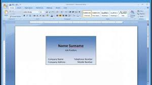 Standard Business Cards Microsoft Word 1975361200576 Word 2003