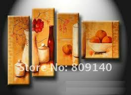 kitchen dining room oil painting canvas stretched artwork modern abstract home restaurant decoration wall art decor high quality handmade kitchen dining