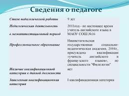 Аналитический отчет о результатах педагогической деятельности за  Сведения о педагоге