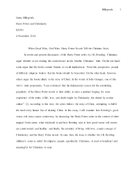 harry potter and christianity paper