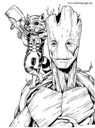 enjoy coloring this free printable groot and rocket rac coloring page from the marvel guardians of the galaxy just print out and have fun with